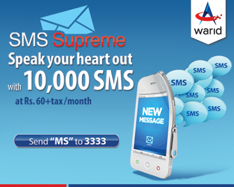 Warid SMS Supreme offer in only 60 Rupee