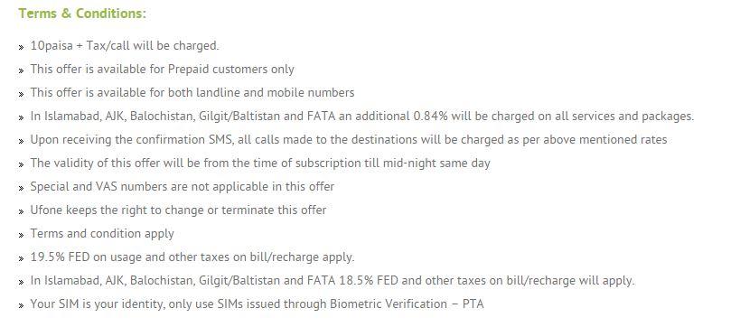 Latest Ufone Sasti (Cheap) International Call Offer