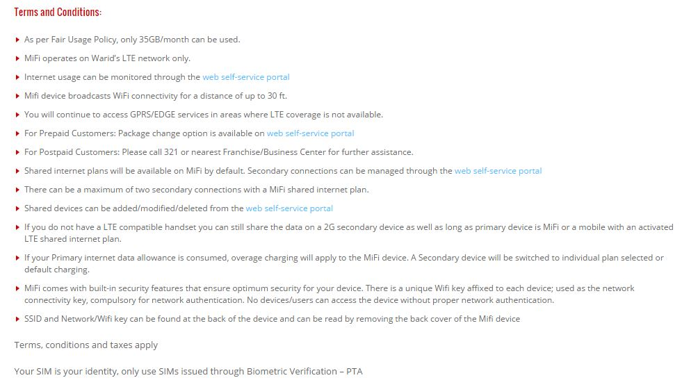 Terms and Conditions for Warid MiFi LTE