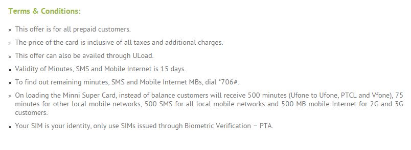 Terms & Conditions of Ufone Mini Super Card