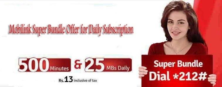 Mobilink Super Bundle Offer free internet and calls in Pakistan