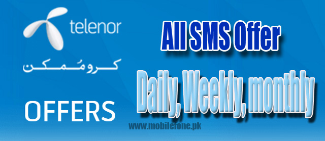 All Telenor SMS Packages, Daily, Weekly And Monthly free